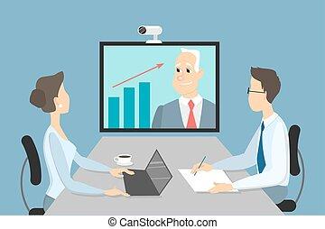 online., reunión negocio