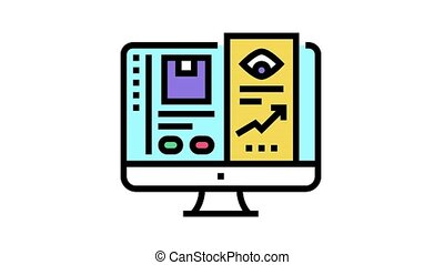 online review animated color icon. online review sign. isolated on white background