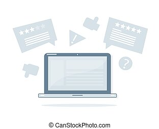 online, reviews., laptop, illustration.