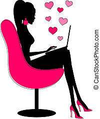 Illustration of a young attractive woman chatting online with her beloved.