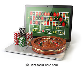 Online roulette casino concept. Laptop with roulette and casino chips