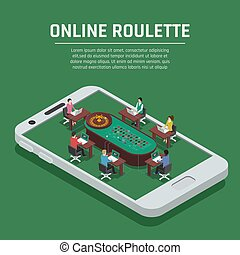 Online Roulette Isometric Smartphone Poster