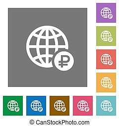 Online Ruble payment square flat icons