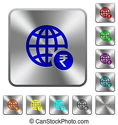 Online Rupee payment rounded square steel buttons