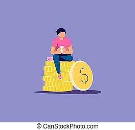 online, salário, conceito, dinheiro
