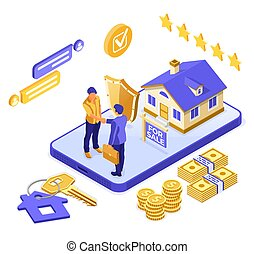 Online Sale Mortgage Insurance House Isometric