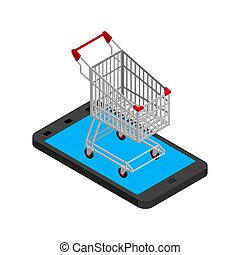 Online sale. shopping cart and smartphone. Buy gifts online. vector illustration
