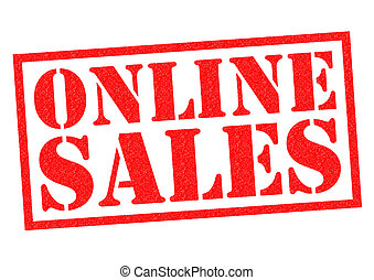 ONLINE SALES red Rubber Stamp over a white background.