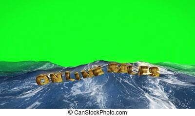Online sales text floating in water against green screen