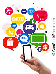 Online sales shopping or shop business template./ Hand holding mobile phone, bubbles/buttons floating of it with online shopping icons