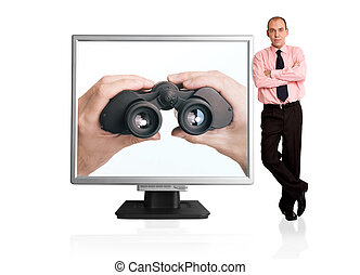 online search - isolated businessman with computer monitor,...