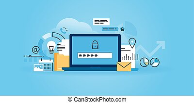 Online security and data protection - Flat line design ...