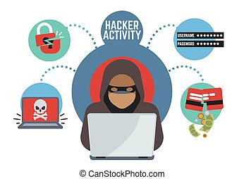 Online security and protection, criminal hacker spies in internet. Online money thief vector concept. Hacker with laptop illustration