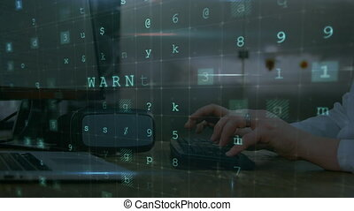 Online security concepts against person typing on keyboard...