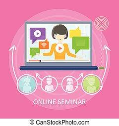 Online Seminar Concept Vector in Flat Design.