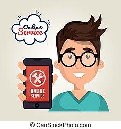 online service boy hold smartphone support