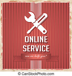 Online Service Concept on Red in Flat Design.