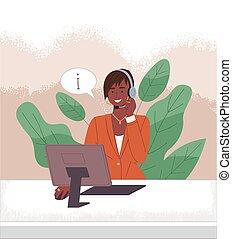 online., servicio, de piel oscura, llamada, operador, computadora, cliente, cliente, centro, habla, hembra