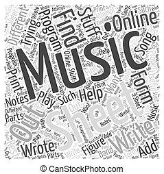 online sheet music Word Cloud Concept