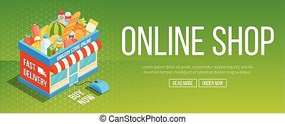Online shop banner. Shop building icon. Online grocery...
