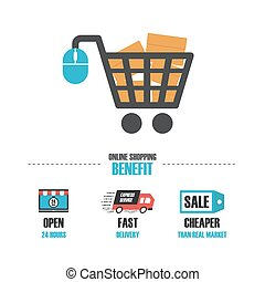 online shop benefit - online shop infographic, isolated in...