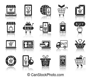 Online Shop black silhouette icons vector set