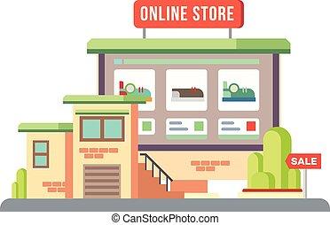 Online Shop Building Flat Design
