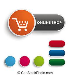 Online Shop Button Black Orange