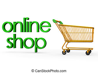 "Online Shop Carry - Orange carry with the green text ""online..."