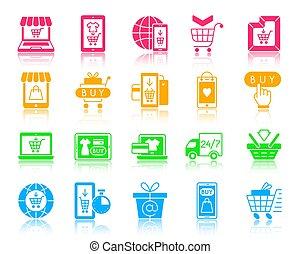 Online Shop color silhouette icons vector set