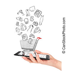 Online shop concept. Female hand holding a phone on which stands empty shopping cart with drawing goods. E-commerce.