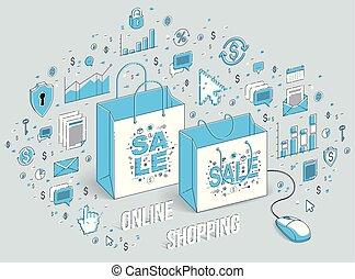 Online Shop concept, web store, internet sales, Shopping bag...