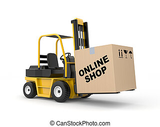 Online shop. Delivery metaphor - Business concept. Isolated...