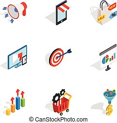 Online shop icons, isometric 3d style