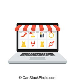Online Shop Laptop - Online shopping concept with realistic...