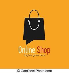 Online shop logo design template . Web banner Online Shop...