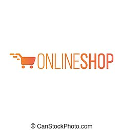 Online Shop Logo for internet store. Shopping cart. Vector