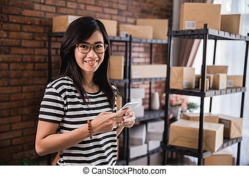 online shop seller business with phone