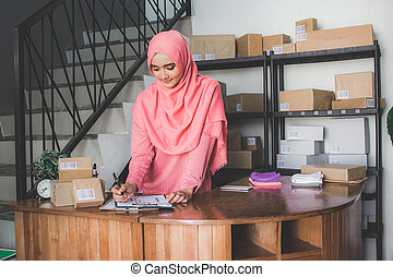 online shop seller working at home office