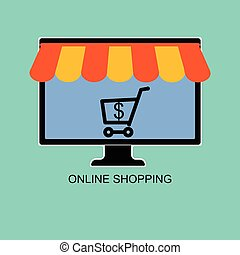 Online shop, selling and buying using computer . Vector...