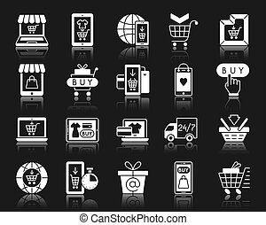Online Shop white silhouette icons vector set