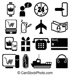 Online shopping 2 icons set