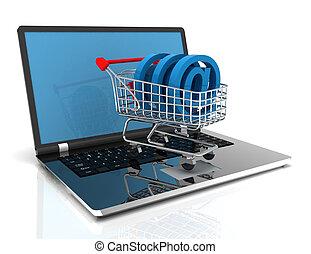 online shopping 3d concept.3D Illustration