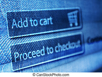 Online Shopping - Add To Basket Button On LCD Screen