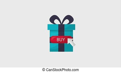 online shopping animation gift box click buy