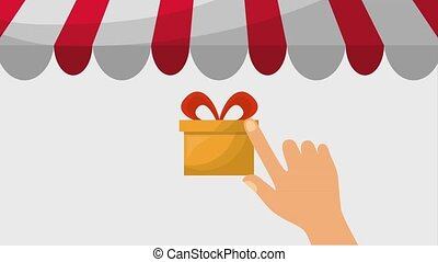 online shopping animation hands selecting gifts