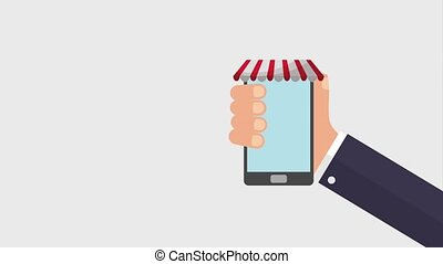 online shopping animation hd - hand holding cellphone online...