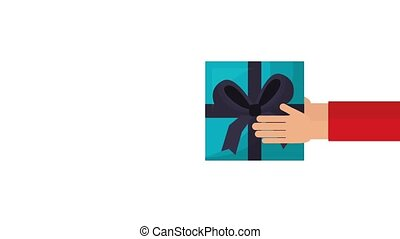 online shopping animation hd - hands holding gift box...