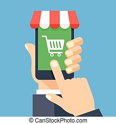 Online shopping app on smartphone screen. Mobile shopping, ...
