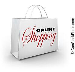 Online Shopping Bag e-Commerce Web Store - The words Online...